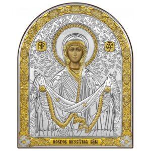 Покров Пресвятой Богородицы (икона серебряная, арочная)