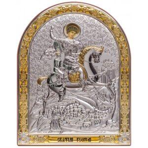 Св. Георгий Победоносец (икона серебряная, арочная)