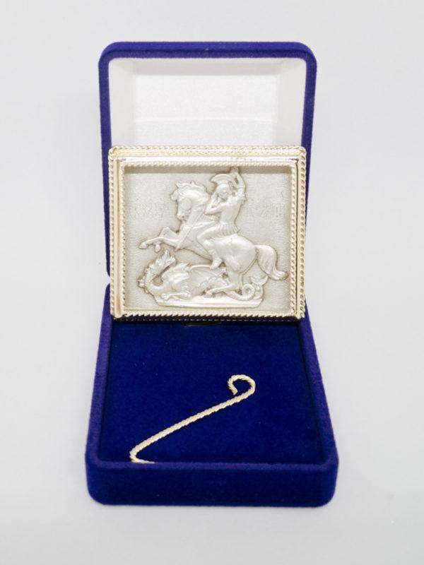"""Ікона Георгія Побідоносця """"Чудо Георгія про змія"""" сріблення та позолота з футляром"""