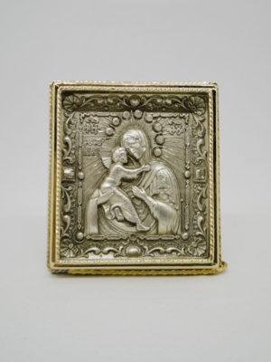 Ікона Божої Матері Володимирська з сріблом і позолотою