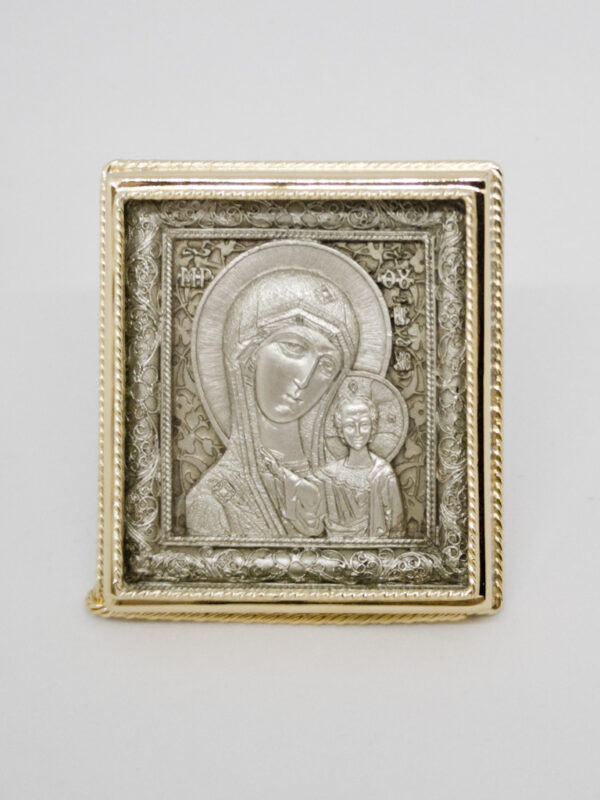 Ікона Богородиці Казанська сріблення та позолота
