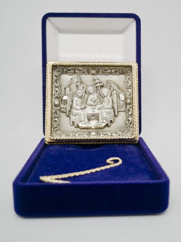 Ікона Свята Трійця срібро та позолота з футляром