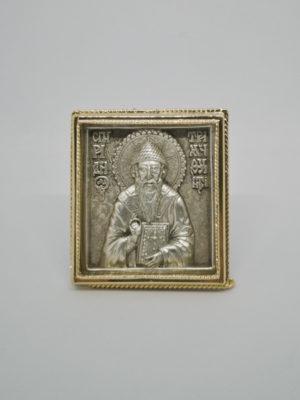 Ікона святого Спиридона Триміфунтського сріблення позолота