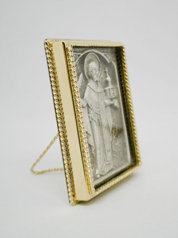Ікона Миколая Чудотворця з мечем позолота сріблення боковина