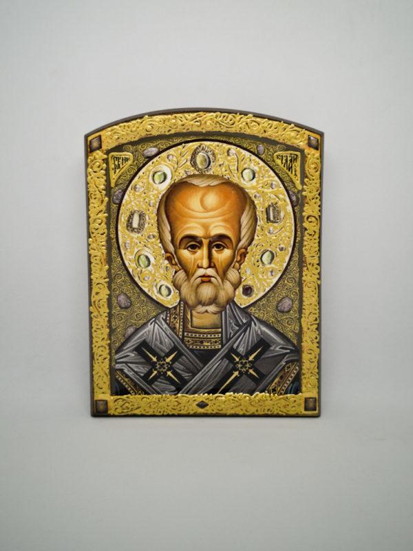 Ікона святого Миколая Чудотворця декорована