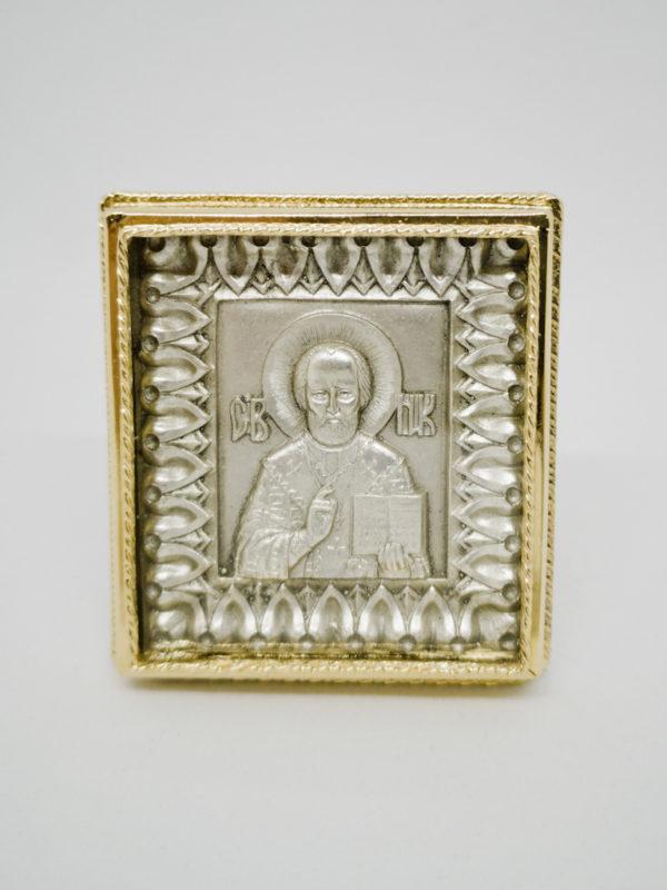 Миколай Чудотворець ікона поясна мідна сріблення і позолота