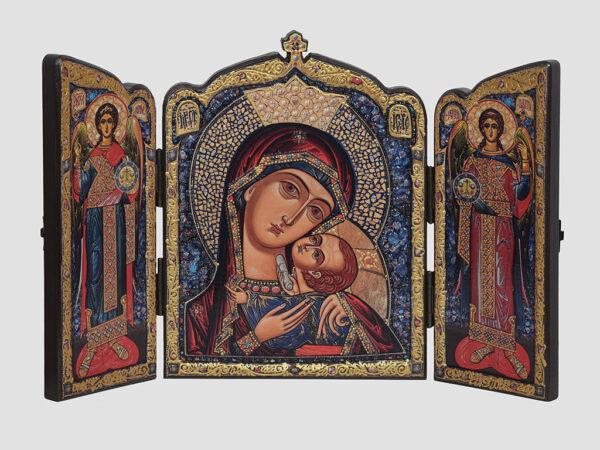 Складень: Касперівська ікона Божої Матері з хрестом, Арх.Михаїл, Арх.Гавриїл (С.Вандаловський)