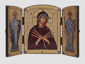 Складень: Семистрільна ікона Божої Матері, Cв.Миколай, Св.Спиридон