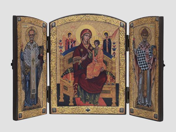 """Складень: """"Всецариця"""" ікона Божої Матері, Cв.Миколай, Св.Спиридон"""