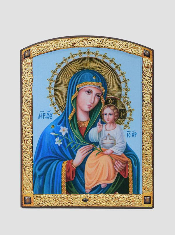 """""""Нев'янучий цвіт"""" ікона Божої Матері з декоративною облямівкою"""