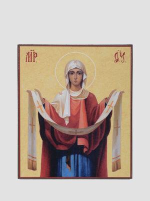 Ікона Покрова Пресвятої Богородиці жовтий фон