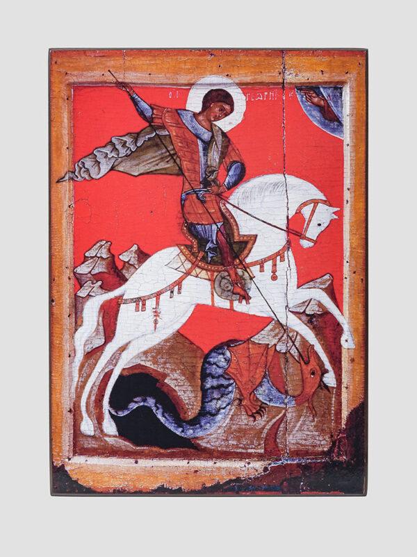 """Св. Георгій Побідоносець: """"Чудо Георгія про змія"""" (Новгородська ікона XV ст)"""