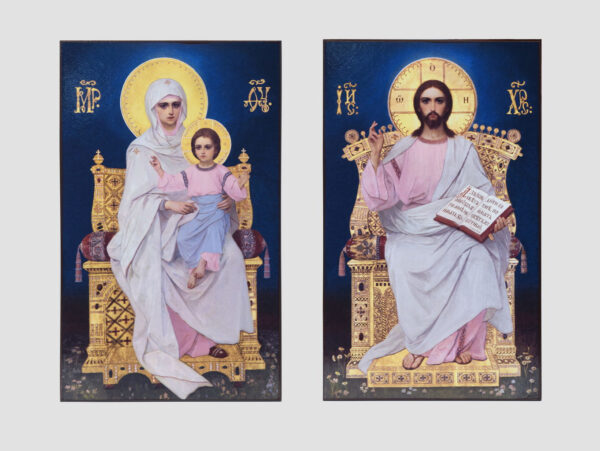 Пара вінчальна з іконою Божої Матері з Немовлям (іконостас Трапезного храму, Києво-Печерська лавра)