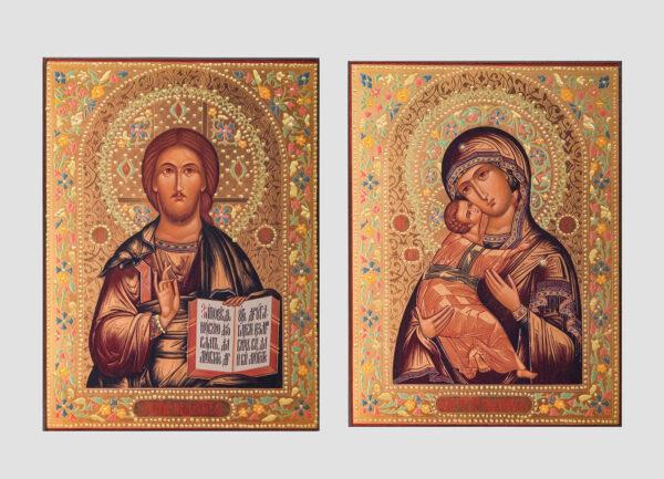 Пара вінчальна з Володимирською іконою Божої Матері декорована