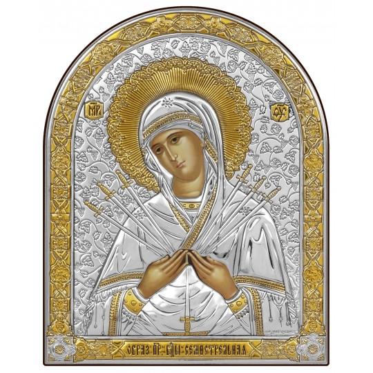 """""""Семистрільна"""" срібна ікона Божої Матері (арочна)"""