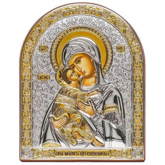 Владимирская Богородица (икона серебряная, арочная)